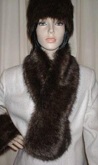 Brown Bear Faux Fur Pull Through Scarf
