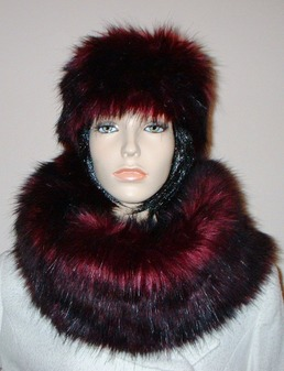 Tuscan Red Faux Fur Cowl/Neck Warmer