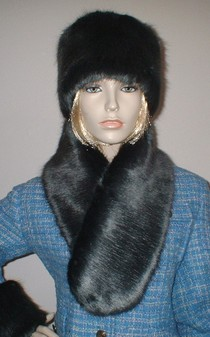 Charcoal Mink Faux Fur Neck Scarf