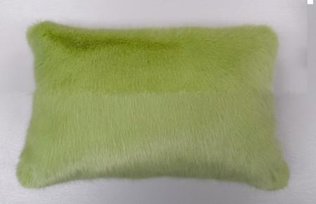 Pistachio Faux Fur Oblong Cushion