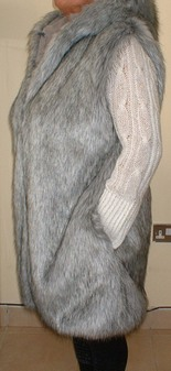 Silver Musquash Faux Fur Knee Length Gilet