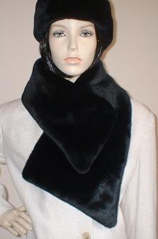 Black Moleskin Faux Fur Vintage Asymmetric Scarf