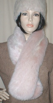 Pink Champagne Faux Fur Pull Through Scarf