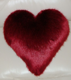 Ruby Red Faux Fur Heart Shaped Cushion
