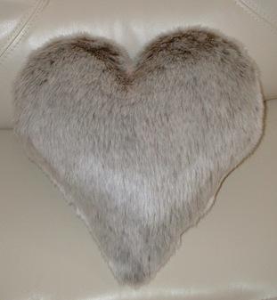Koala Faux Fur Heart Shaped Cushion