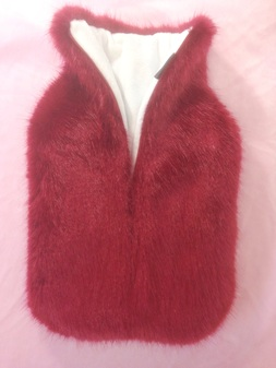 Ruby Red Faux Fur Hot Water Bottle Cover