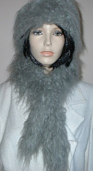 Mongolian Grey Faux Fur Slim Collar/Headband