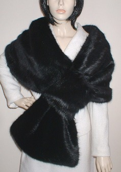 Black Mink Faux Fur Pull Through Stole