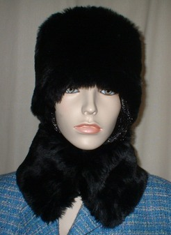 Black Mink Faux Fur Hat