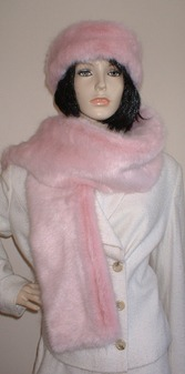 Raspberry Cream Mink Faux Fur Scarf