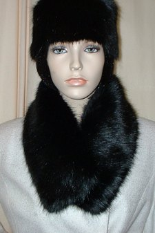 Black Mink Faux Fur Long Collar
