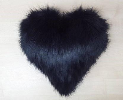Black Bear Faux Fur Heart Shaped Cushion