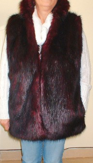 Tuscan Red Faux Fur Long Gilet