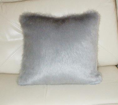 Silver Mink Faux Fur Cushion 41 x41 cm