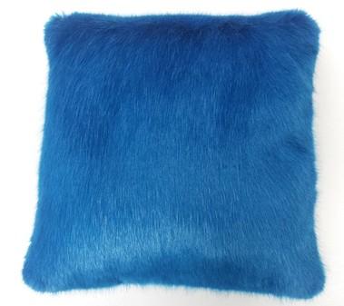 Azure Blue Faux Fur Cushion 61x61cm