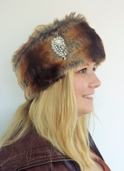Madagascar Faux Fur Headband with Diamante Brooch