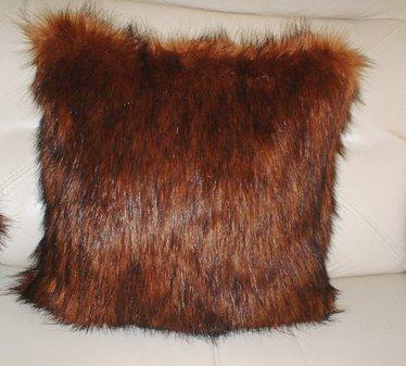 Red Fox Faux Fur Cushion 61cm x 61cm (24