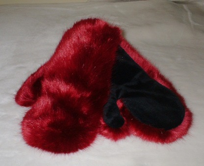 Ruby Red Faux Fur Mittens