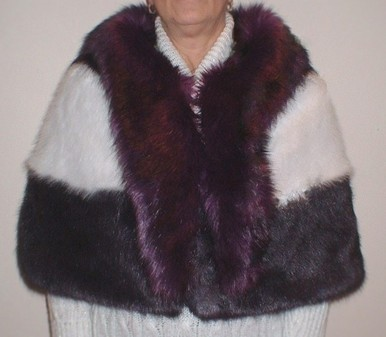 Black White and Purple Faux Fur Trinity Cape
