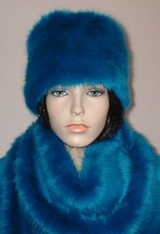 Azure Blue Faux Fur Hat