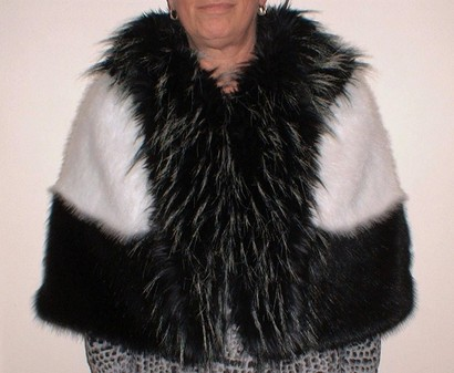 Black and White Faux Fur Trinity Cape