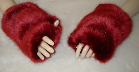 Ruby Red Faux Fur Fingerless Mittens