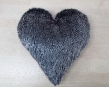 Arctic Wolf Faux Fur Heart Shaped Cushion