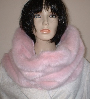 Raspberry Cream Mink Faux Fur Cowl/ Neckwarmer
