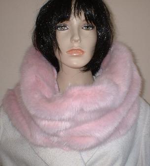 Raspberry Cream Mink Faux Fur Cowl/ Neckwarmer