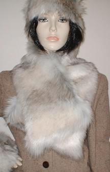 Snow Wolf Faux Fur Asymmetric Scarf