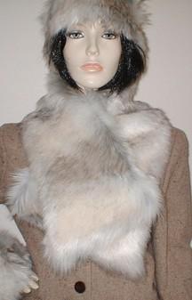 Snow Wolf Faux Fur Asymmetric Scarf