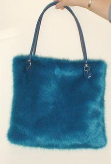 Azure Blue Faux Fur Bag