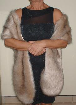 Fawn Musquash Faux Fur Slim Stole