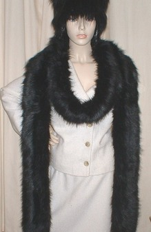 Black Bear Faux Fur Super Long Scarf
