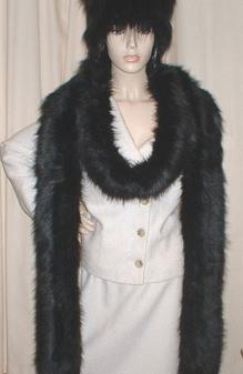 Black Bear Faux Fur Super Long Scarf