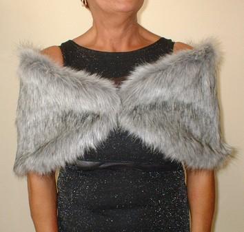 Silver Musquash Faux Fur Wrap