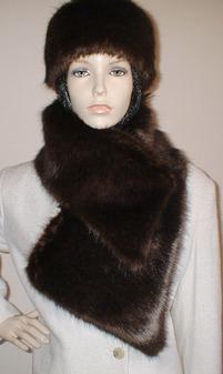 Mahogany Mink Faux Fur Vintage Asymmetric Scarf