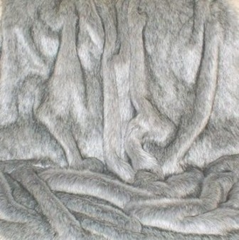 Silver Musquash Faux Fur Long Coat