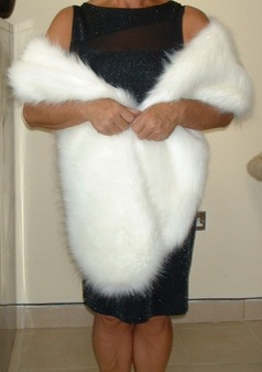 Polar Bear Faux Fur Slim Stole