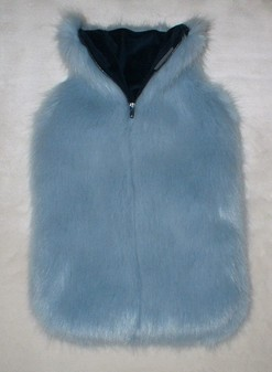 Powder Blue Faux Fur Hot Water Bottle Cover