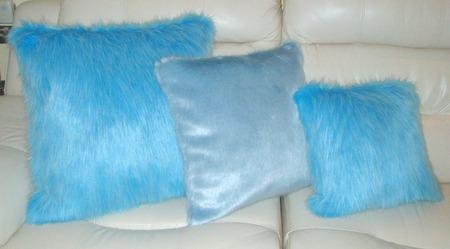 Powder Blue Faux Fur Cushion 51 x 51 cm 20 x 20 inch