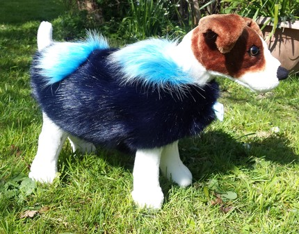 Midnight Navy Blue and Sky Blue Faux Fur Dog Coat