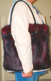 Tuscan Red Faux Fur Bag