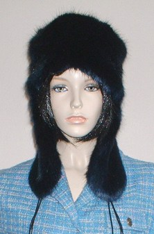 Midnight Navy Blue Faux Fur Trapper Hat