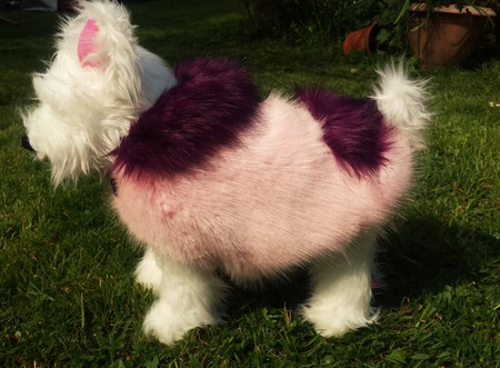 Raspberry Cream and Magenta Faux Fur Dog Coat