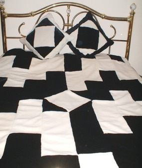 Black & White Harlequin Faux Fur Patchwork Throw
