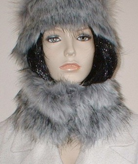 Silver Musquash Faux Fur Short Collar