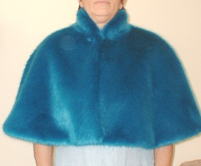 Azure Blue Faux Fur Cape