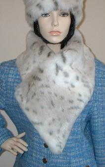 Snow Lynx Faux Fur Vintage Asymmetric Scarf