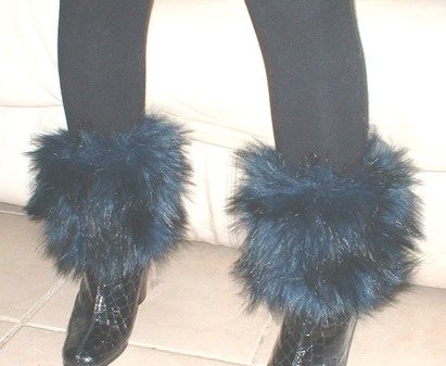 Midnight Blue Faux Fur Boot Toppers